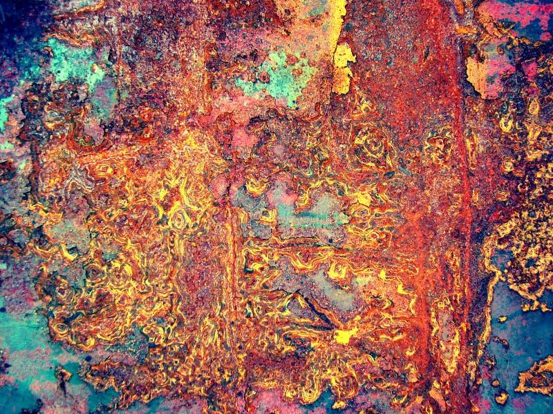 电烙被绘的铁锈页 图库摄影