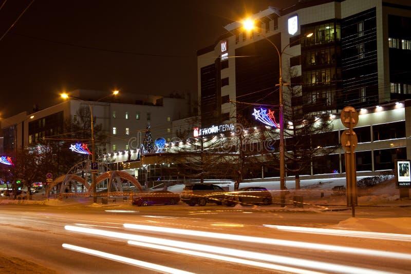 电烫,俄罗斯- 12月16 2016年:办公楼卢克石油和交通 免版税图库摄影