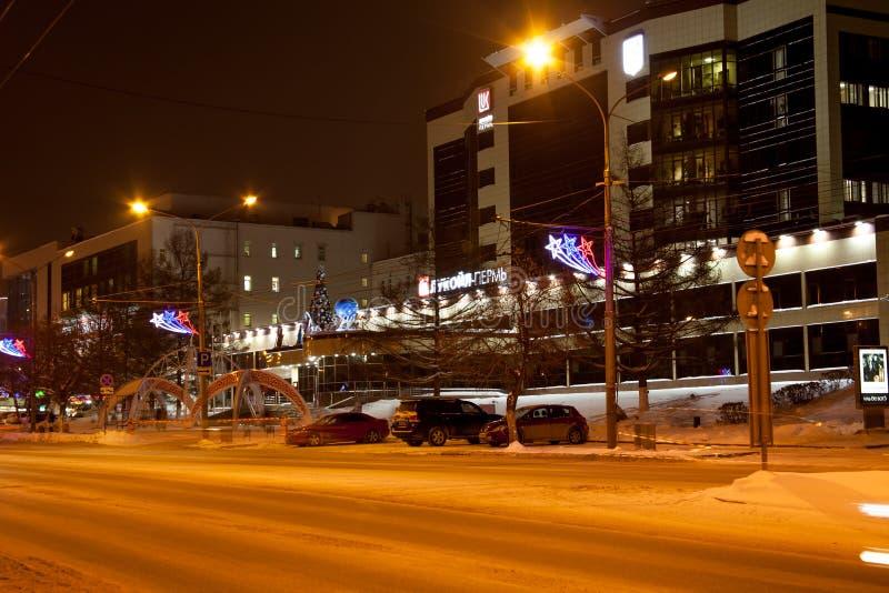 电烫,俄罗斯- 12月16 2016年:办公楼`卢克石油` 库存照片