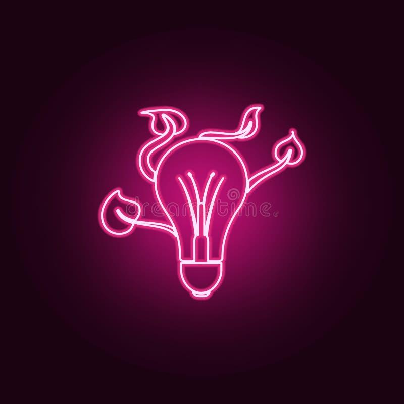 电电灯泡和叶子象 生态的元素在霓虹样式象的 网站的简单的象,网络设计,流动应用程序,信息 向量例证
