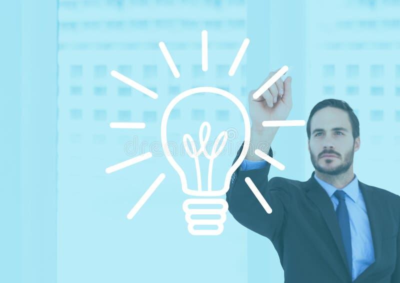 画电电灯泡的商人反对办公楼背景 库存例证