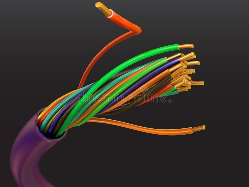 电的电缆 向量例证