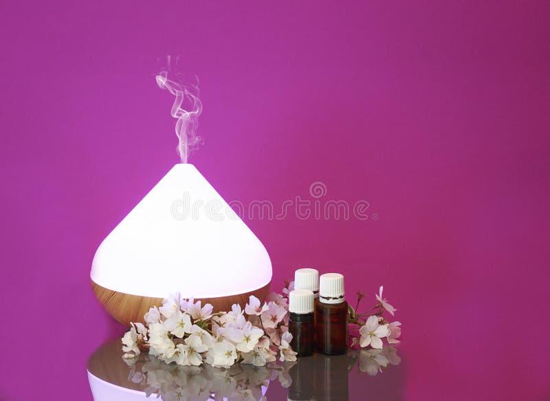 电精油芳香分散器、油瓶和花 免版税库存照片
