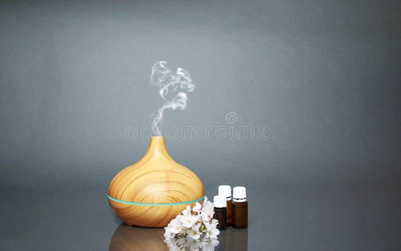 电精油芳香分散器、油瓶和花 免版税图库摄影