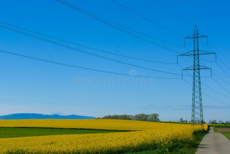 电线和定向塔在农村风景 免版税库存图片