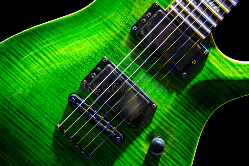 电绿色吉他 免版税图库摄影