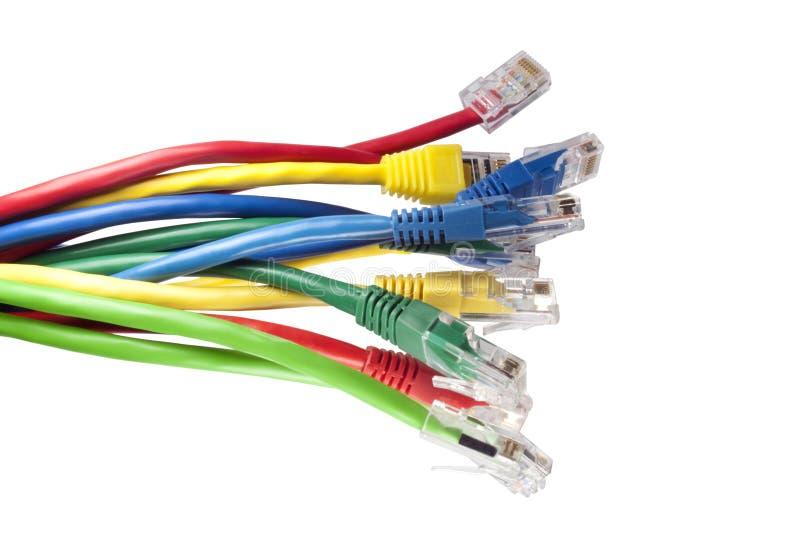 电缆上色了以太网多网络 免版税库存照片