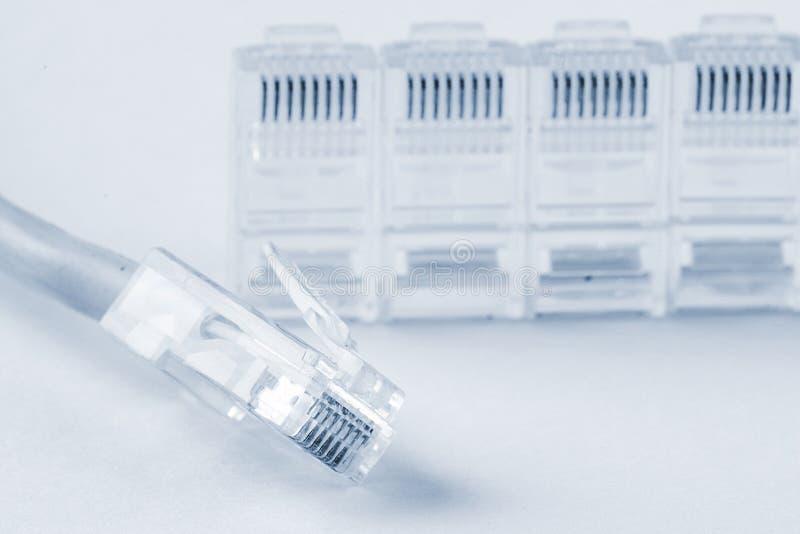 电缆以太网灰色网络插件rj45 库存照片