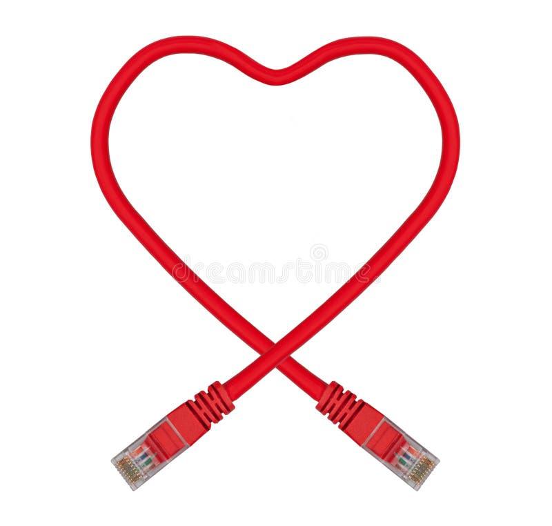 电缆以太网重点被塑造的网络红色 免版税库存照片