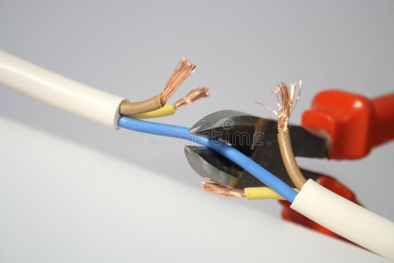 电缆切割工电汇 库存图片