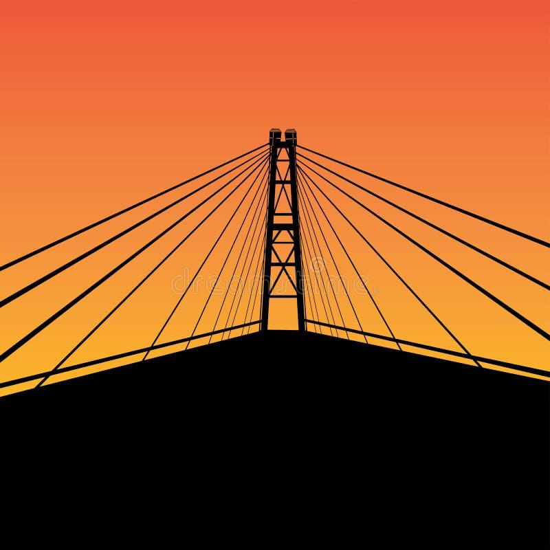电缆坚持的桥梁 库存例证