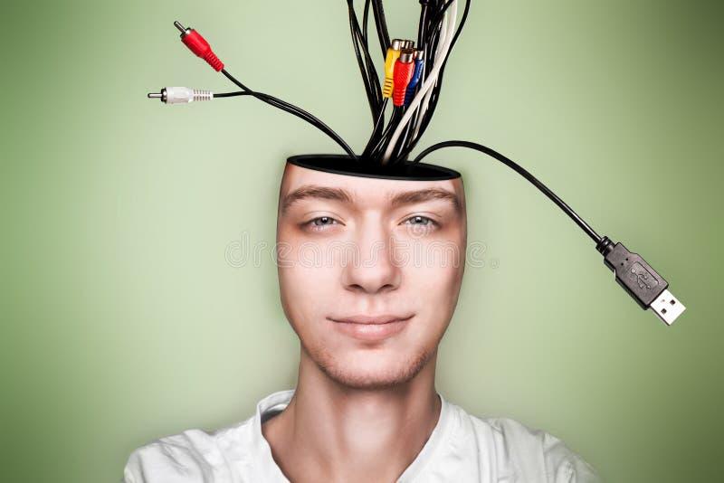 电缆接头人重视的开放  库存照片