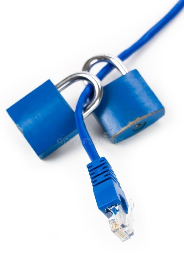 电缆锁定网络 免版税库存照片