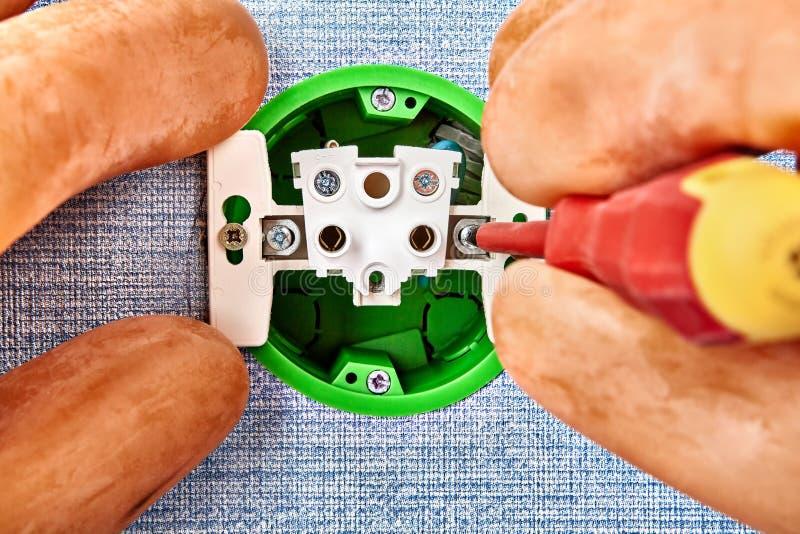 电能点设施,电力输出里面 库存图片