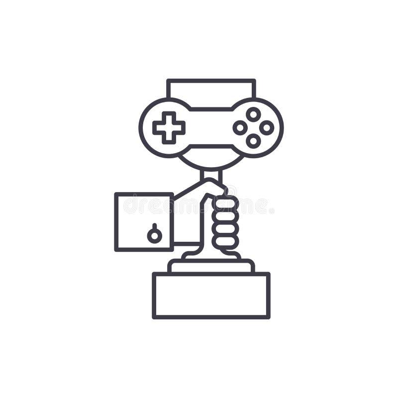 电脑游戏冠军线象概念 电脑游戏冠军传染媒介线性例证,标志,标志 库存例证