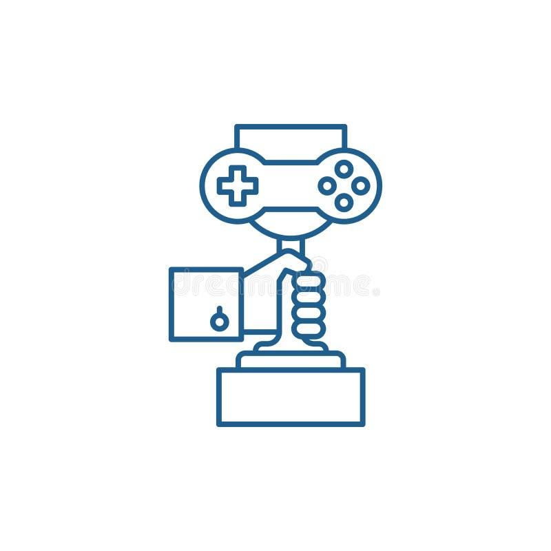 电脑游戏冠军线象概念 电脑游戏冠军平的传染媒介标志,标志,概述 向量例证