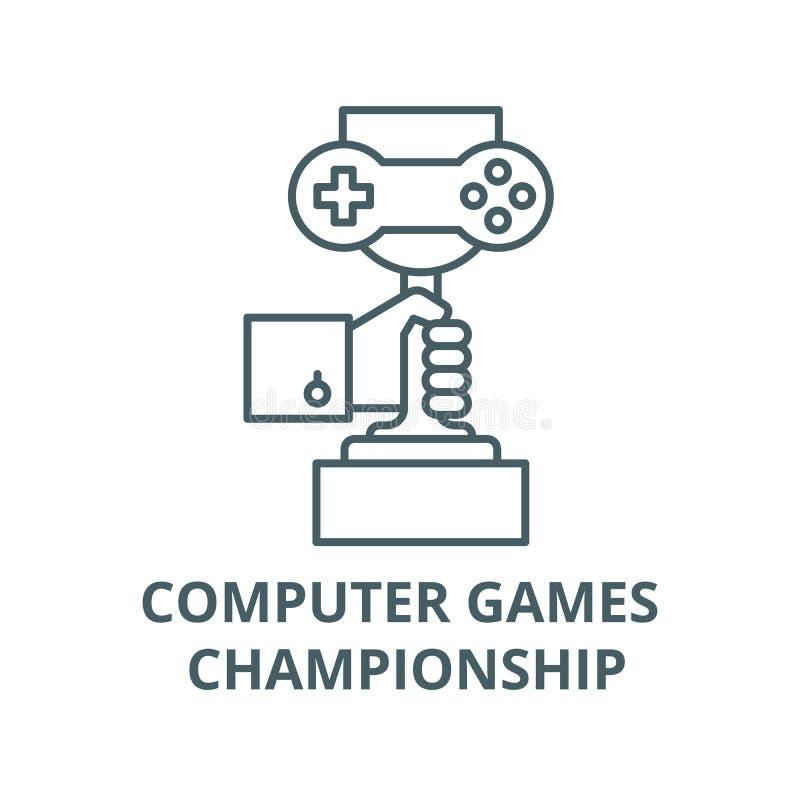 电脑游戏冠军线象,传染媒介 电脑游戏冠军概述标志,概念标志,平展 向量例证