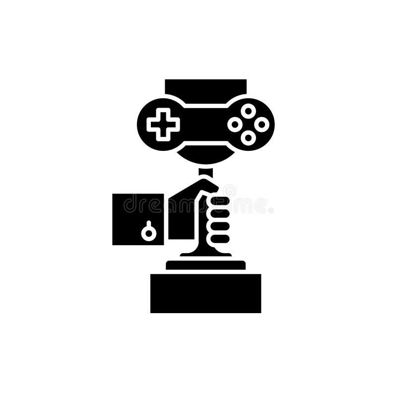 电脑游戏冠军黑色象,在被隔绝的背景的传染媒介标志 电脑游戏冠军概念标志 皇族释放例证