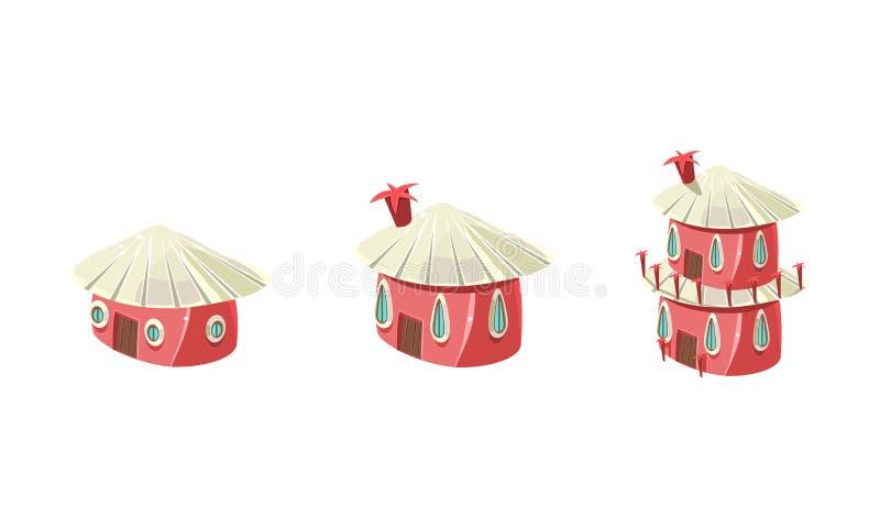 电脑游戏接口传染媒介例证的逗人喜爱的矮小的桃红色房子集合、城市或者镇设计元素在白色 库存例证