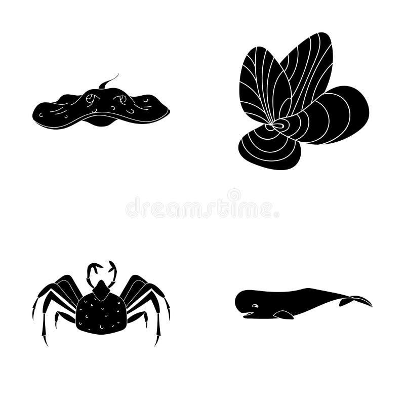 电舷梯,淡菜,螃蟹,抹香鲸 海洋动物在黑样式传染媒介标志库存设置了汇集象 皇族释放例证