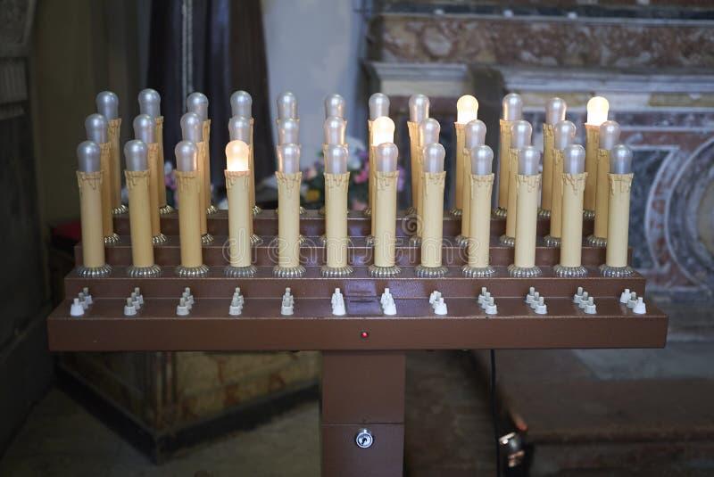 电蜡烛看法  库存照片
