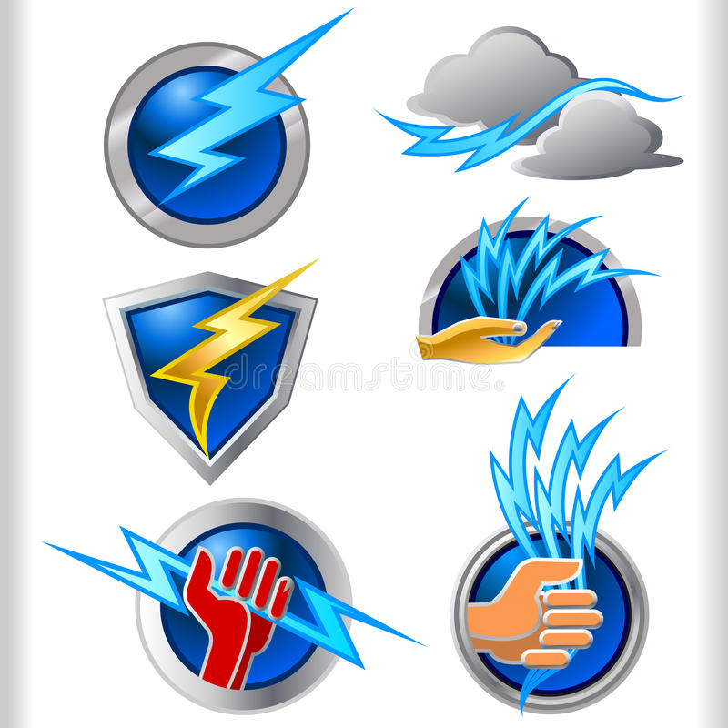 电被设置的能源符号和图标 皇族释放例证