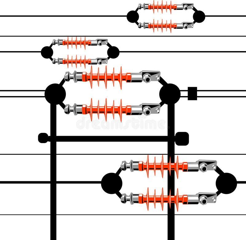 电装绝缘体工线路次幂 向量例证