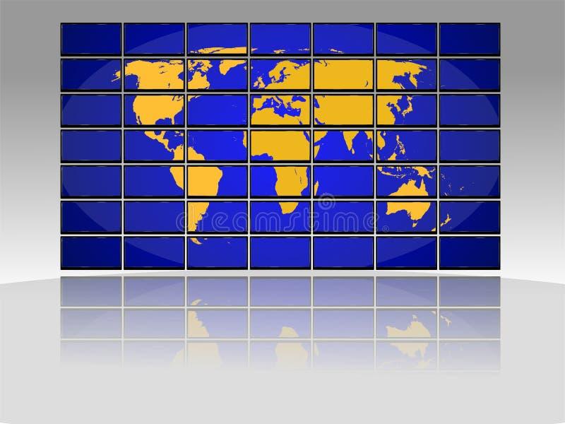 电视世界地图 库存例证