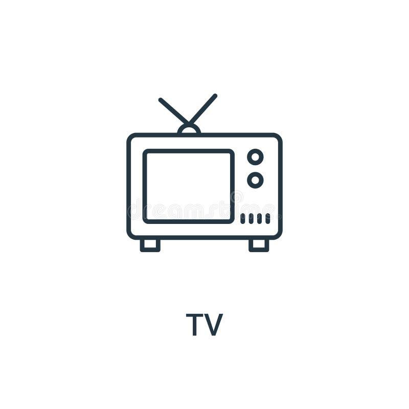 电视从广告汇集的象传染媒介 稀薄的线电视概述象传染媒介例证 线性标志为在网和流动应用程序的使用, 库存例证