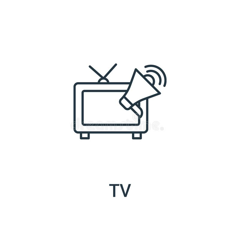 电视从广告汇集的象传染媒介 稀薄的线电视概述象传染媒介例证 线性标志为在网和流动应用程序的使用, 皇族释放例证