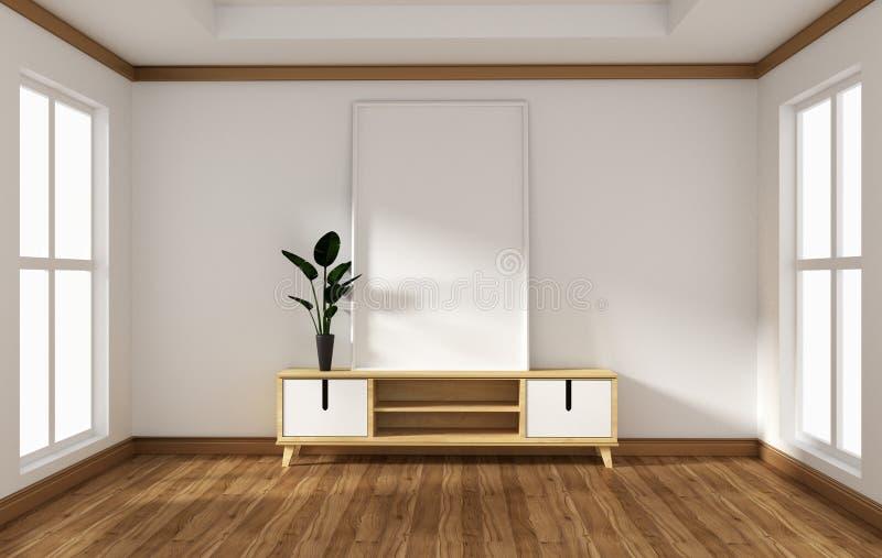 电视内阁的嘲笑在日语现代空的室-禅宗样式,最小的设计 3d?? 向量例证