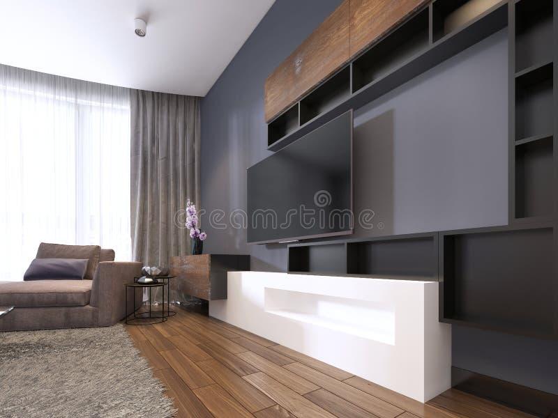电视单位在有角落织品大沙发和窗口的当代客厅与薄纱 皇族释放例证