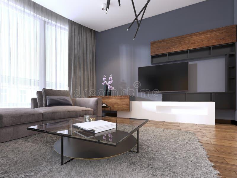 电视单位在有角落织品大沙发和窗口的当代客厅与薄纱 库存例证