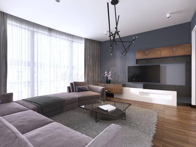 电视单位在有角落织品大沙发和窗口的当代客厅与薄纱 向量例证
