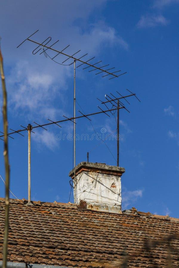 电视和单选antena 库存照片