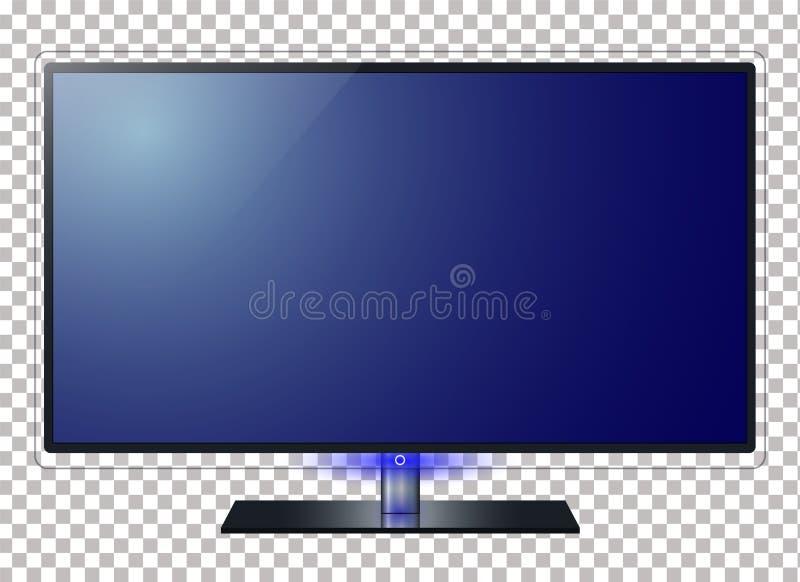 电视和屏幕传染媒介例证 在transparancy背景中,提出您的应用 向量例证