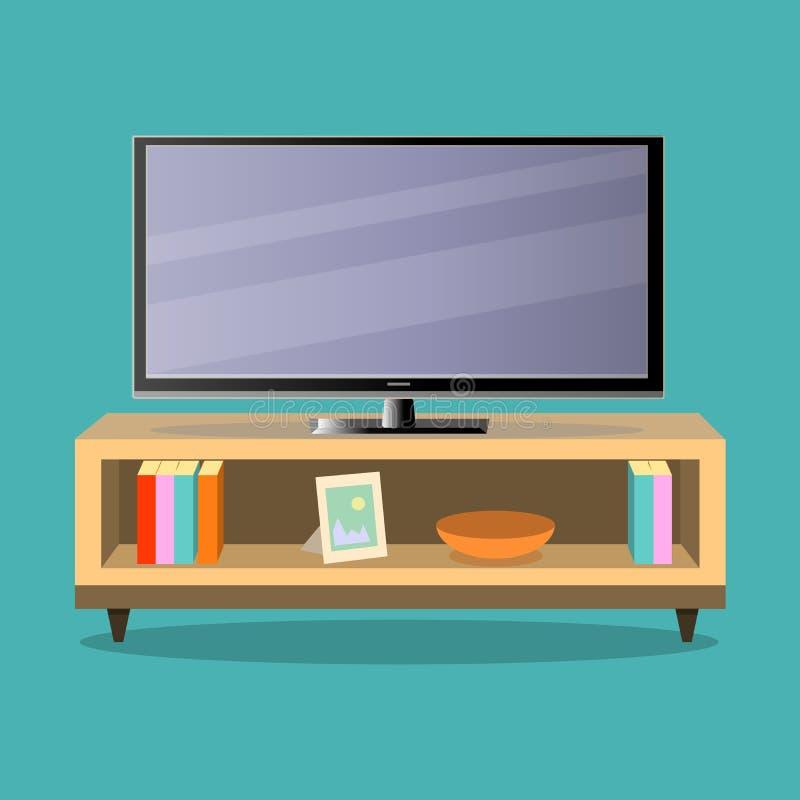 电视和电视桌在绿色背景的客厅 向量例证