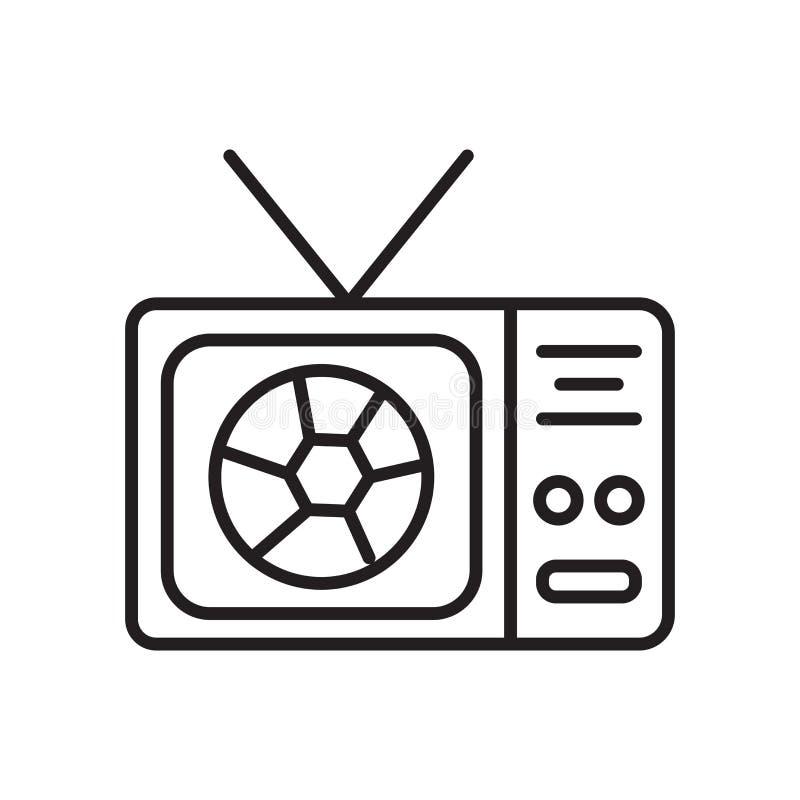 电视在白色背景、电视标志、标志和标志隔绝的象传染媒介在稀薄的线性概述样式 向量例证