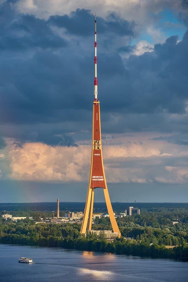电视塔里加,拉脱维亚 免版税库存图片