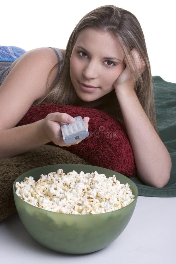 电视妇女 免版税库存图片