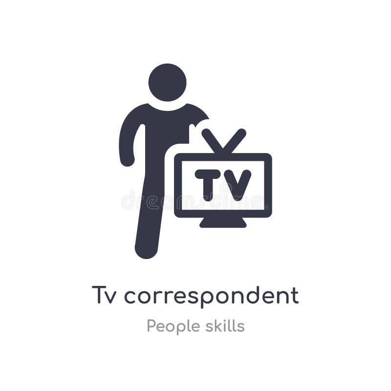 电视对应的概述象 被隔绝的线从人技能汇集的传染媒介例证 编辑可能的稀薄的冲程电视 向量例证