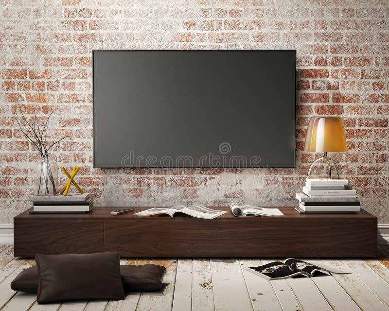 电视屏幕的嘲笑 库存例证