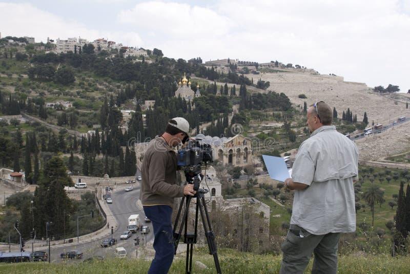 电视工作人员摄制在汲沦谷,以色列 库存图片