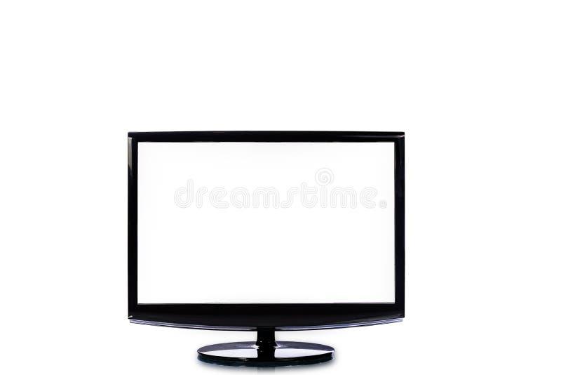 电视平面屏幕lcd,与白色scr的HD显示器现代录影盘区 免版税图库摄影