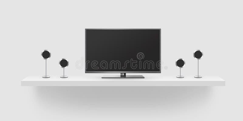 电视平面屏幕lcd,家庭影院现实例证,前面t 向量例证