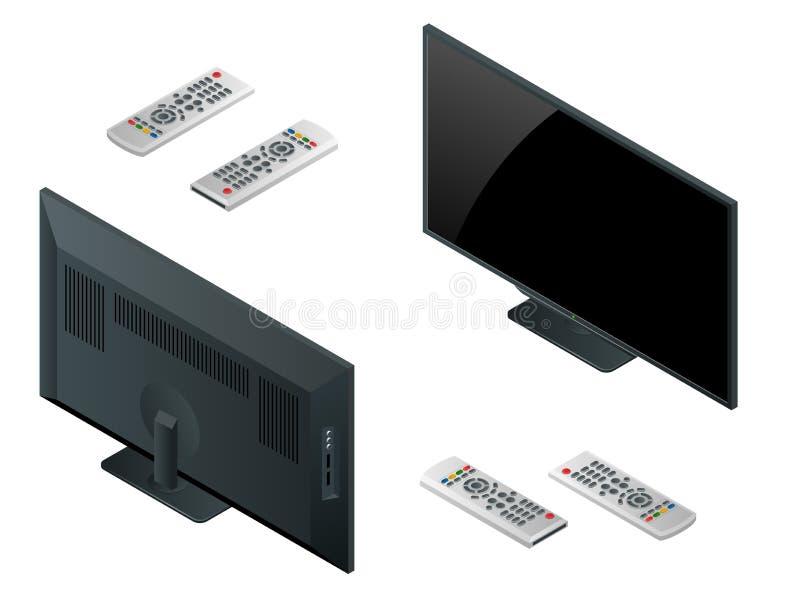 电视平面屏幕lcd,等离子现实传染媒介例证,电视嘲笑 黑HD显示器大模型 现代录影盘区黑色 向量例证