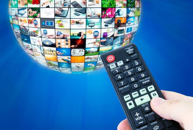 电视广播多媒体球形摘要构成 免版税库存图片