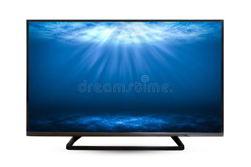电视显示器在白色背景隔绝的水反射 免版税库存照片