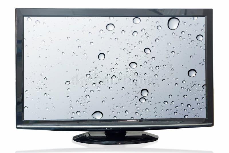 电视显示器在白色背景隔绝的水反射 库存照片