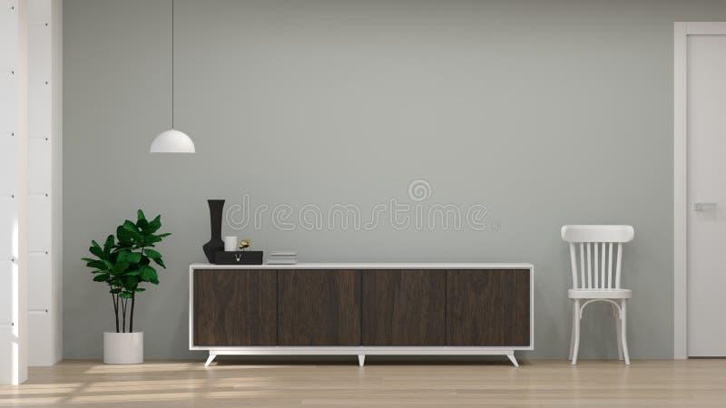 电视暗色木内阁和椅子在屋子3d例证家具、现代家庭设计、架子和书里在书桌上在f 免版税库存照片